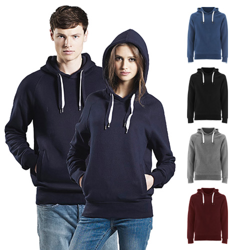 Continental Clothing unisex organic pullover hood double drawstrings