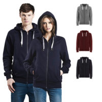 Continental Clothing unisex organic zip up hood double drawstrings