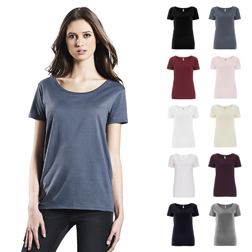 Continental Clothing womens organic open neck t-shirt