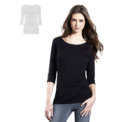 Continental Clothing Womens organic 3 kwart sleeve stretch T-shirt